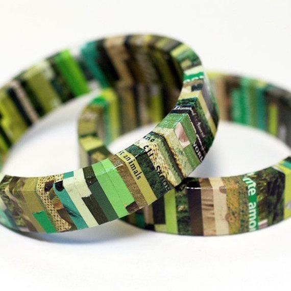Urban Camo Recycled Magazine Eco Friendly Bangle Bracelet