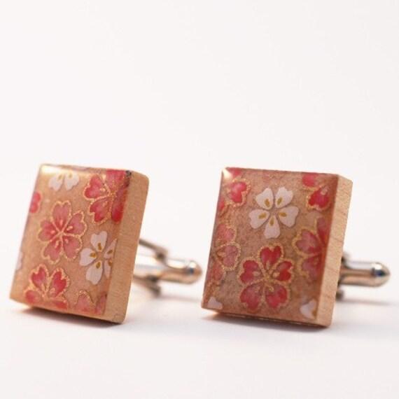 Recycled Scrabble Tile Cufflinks - Pink Sakura Flowers