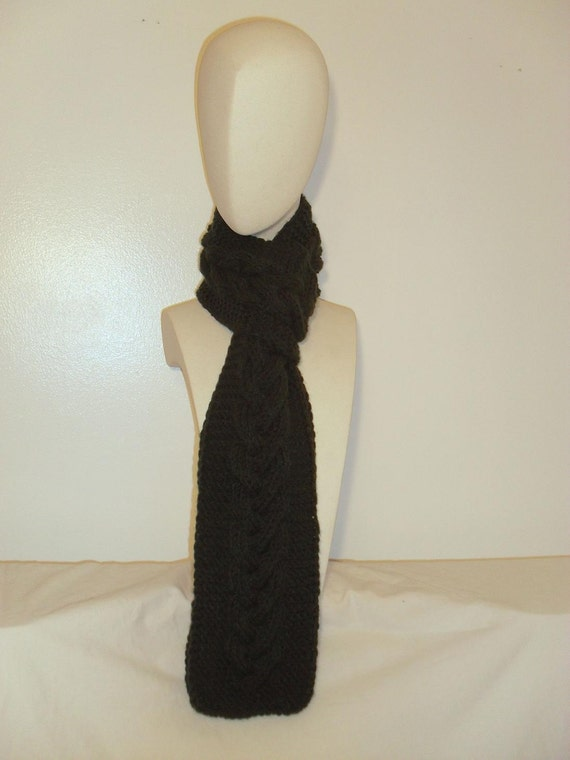 Black Single Cable Scarf