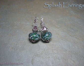Splash Lampwork Earrings with Sterling Silver and Swarovski Crystals