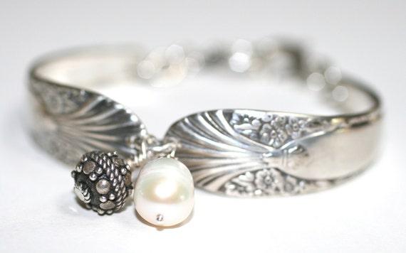 Radiance Vintage Silverware and White Freshwater Pearl Handmade Charm Bracelet