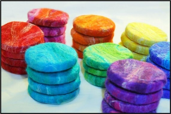 Felted Soaps in rainbow//Lavender Kids Soaps//Colorful Children's Felt soap 8 pack