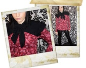 VIVIFROMAGE top black red guitars hearts BOW COLLAR / YOKE M/L