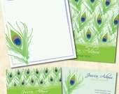 Call and Note Card Set - Peacock Pattern
