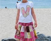 SALE lilyhaven FLIP FLOPPIN Applique Tee and Patchwork Twirl Skirt 5T\/6 Ready-to-Ship
