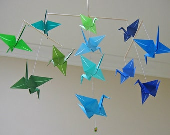 Origami Crane Mobile - Blue and Green