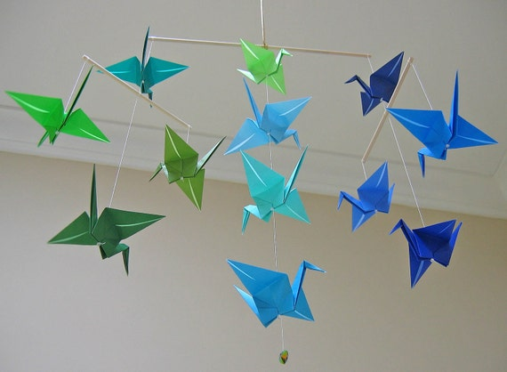 items similar to origami crane mobile blue and green on etsy. Black Bedroom Furniture Sets. Home Design Ideas
