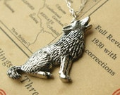 wild wolf, antiqued pewter and sterling silver necklace