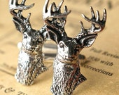 wild deer, antiqued pewter and silver cufflinks