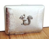 Squirrel Cigarette Case or Business Card Holder. Scrolly Ornate Pattern.