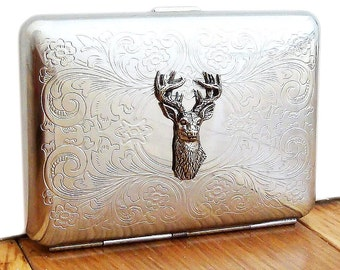 Stag Cigarette Case or Business Card Holder. Scrolly Ornate Pattern.