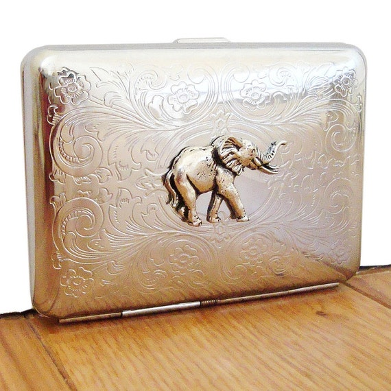 Elephant Cigarette Case or Business Card Holder. Scrolly Ornate Pattern.