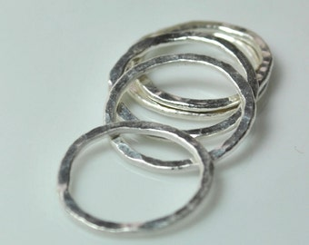 Fine Silver Circles, Qty 5, 12mm