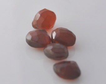 Brown Chalcedony Heart Briolettes Qty 5, 9mm