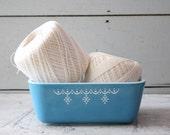 vintage. robins egg blue. pyrex dish. container. bowl. snowflake. dot.