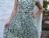 YART SALE.  Polka Dot Love. Vintage Couture Green Dress Millinary