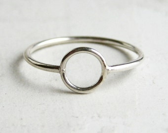 Circle Ring | White 14k Gold | Eco Friendly Gold Circle Ring | Delicate Gold Ring