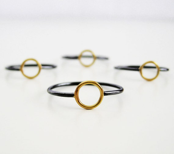 Black & 18k Gold Circle Ring | Oxidized Silver and Gold | Recycled Gold and Silver ring | Minimalist Ring | Understated Statement Ring
