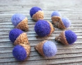 SHOP CLOSING SALE - Needle Felted Acorns In Grape - Teeny Tiny - Gift Under 10