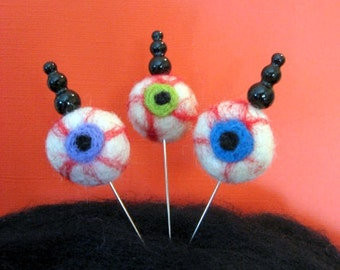 SHOP CLOSING SALE - Needle Felted Halloween - Don't Poke Your Eye Out Decorative Stick Pins - Set Of Three