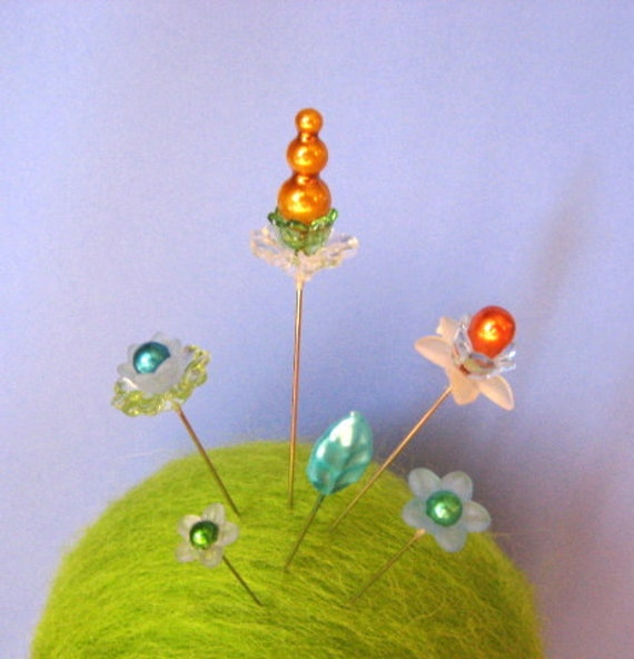 A Garden Of Stick Pins - Gold, Green, And Blue - Set of 6 - Gift Under 10