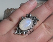 Good Evening Moon- Rainbow Moonstone and Sterling Ring