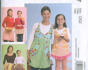 Retro Style McCalls 5997 Apron Sewing Pattern Vintage Mommy and Me