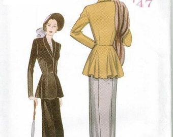 OOP Butterick 6256 Retro Jacket and Skirt Pattern 1947 Sizes 18-20-22 Reissue Skirt Suit Peplum