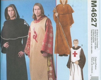 McCalls 4627 Monk Medieval Costume Sewing Pattern Knights Templar of the Cross Sizes S-M-L-XL OOP
