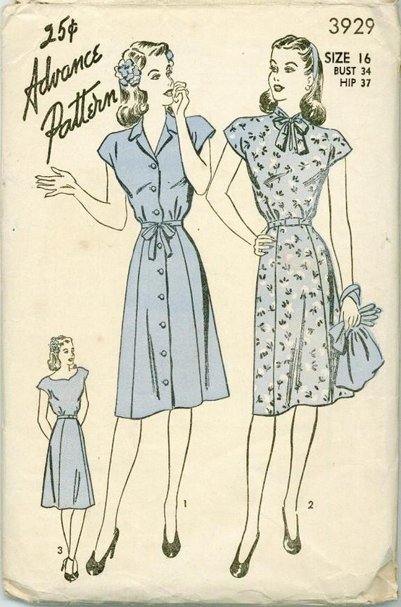 1945 Advance 3929 Sewing Pattern Womens Shirtdress dress Size 16 Vintage