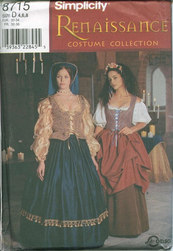 Renaissance Dress Gown Costume Pattern Simplicity 8715 Sizes 4-6-8 UNCUT OOP