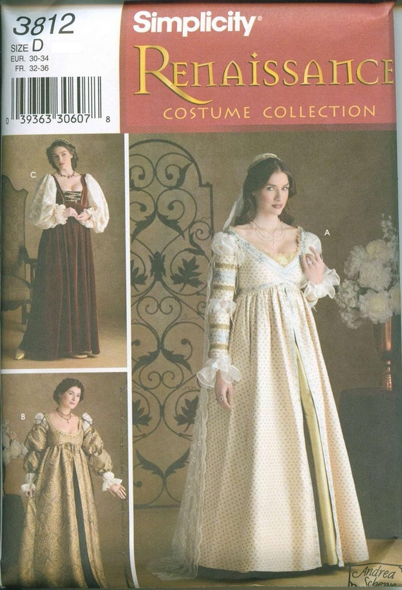Renaissance Costume Gown Patterns Simplicity 3912 Sizes 4-6-8 OOP Ever After Gown