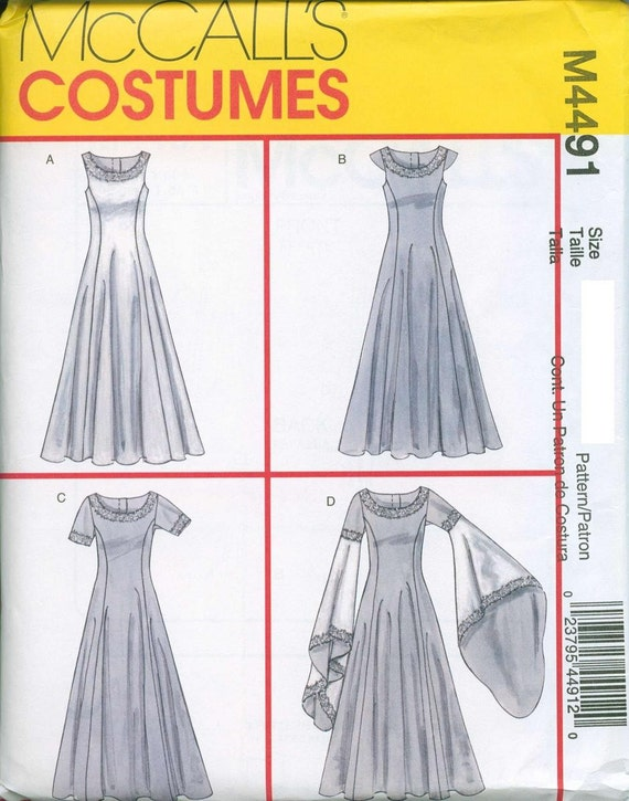 Renaissance Maiden Sewing Pattern McCalls 4491 Medieval Sizes 6-8-10-12 Batwing Sleeves or Variations