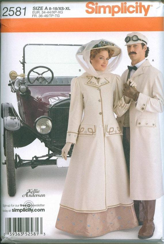 Victorian Coat Driving Coat Mens or Womens Duster Pattern All Sizes Simplicity 2581