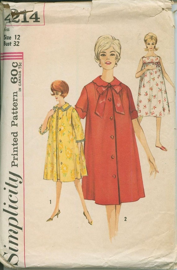 1962 Duster Robe Housecoat Simplicity 4214 Sewing Pattern Vintage Sz 12 Nighgown