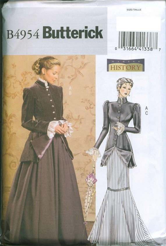 Butterick 4954 Victorian Costume Sewing Pattern My Fair Lady Sizes 8-10-12-14 Early 20th Century Costume