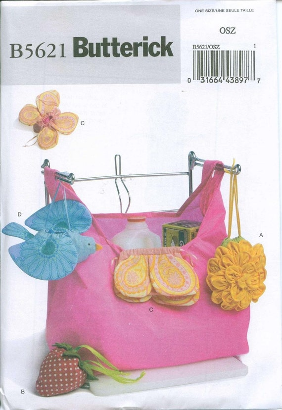 Shopping Bags handbag Totes Sewing Pattern Butterick 5621 Reusable with carry case