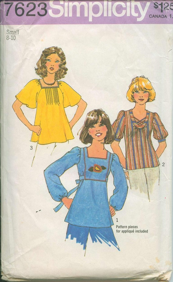 1976 Simplicity 7623 Retro Mod Shirt Empire waist with ties Sewing Pattern Vintage Size 8-10 Flutter sleeve UNCUT