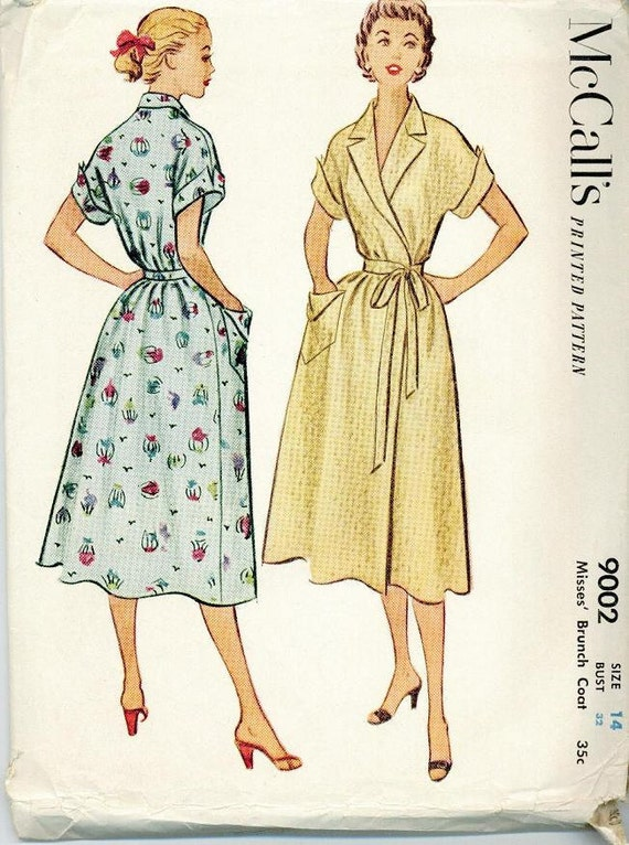 1952 McCall 9002 House Coat Robe Sewing Pattern Vintage Size 14 Brunch house dress