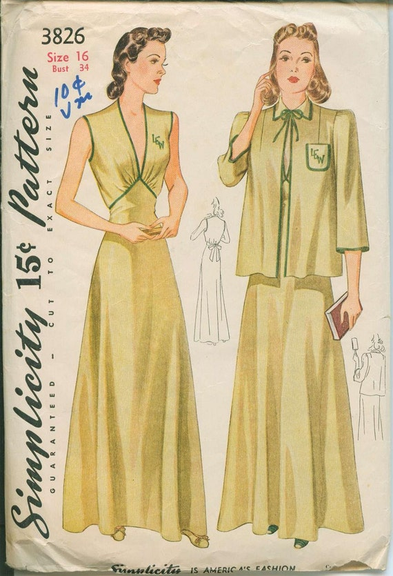 1940s Simplicity 3826 Nightgown Bed Jacket Sewing Pattern Vintage Size 16 house dress Very Sexy