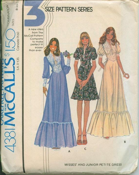 1974 McCalls 4381 Retro Mod BoHo Dress Sewing Pattern Vintage Size 8 Hippy Peasant Style