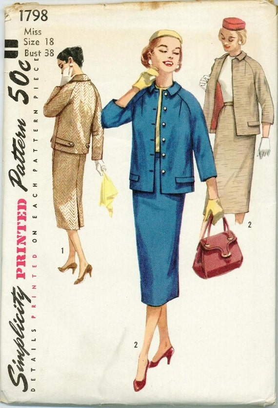 1946 Simplicity Skirt Suit Jacket Sewing Pattern Vintage 1798 Size 18 Wiggle Skirt