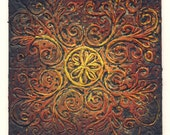 Apr 13 - Original Abstract Textured Painting on Recycle Mat Board 4x4 inch / Black / Orange / Yellow / Gold