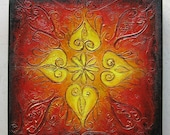 Rangoli V - Original Abstract Textured Painting on Canvas 8 x 8 inch / Indian Rangoli Pattern / Red / Yellow / Gold