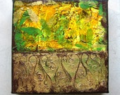 Victorian - Original Abstract Textured Painting on Canvas 8 x 8 inch / Green / Yellow / Gold