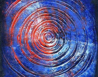 Target - Original Abstract Textured Painting on Canvas 8 x 8 inch / Circle / Deep Blue / Black / Silver / Red / Bohemian Interior Home Decor