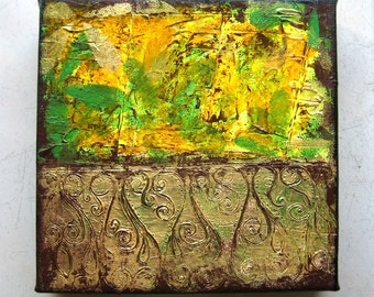 Victorian - Original Abstract Textured Painting on Canvas 8 x 8 inch / Green / Yellow / Gold / Bohemian Home Interior Decor
