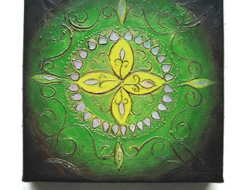 Rangoli IV - Original Abstract Rangoli Textured Painting on Canvas 8 x 8 inch / Green / Yellow / Gold / Bohemian Interior Decor