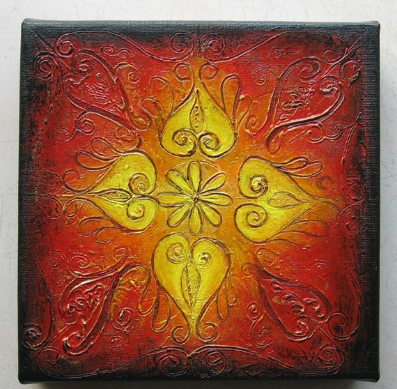 Rangoli v original abstract textured painting on canvas 8 x for Mural on indian red ground