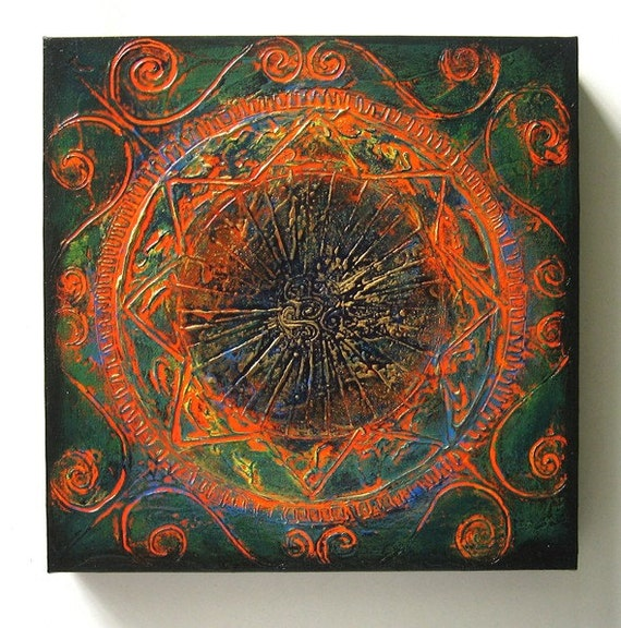 The Past - Original Abstract Textured Painting on Canvas 12x12 inch / Orange / Gold / Green / Blue